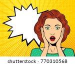 pop art surprised female face...   Shutterstock .eps vector #770310568