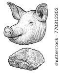 pig head illustration  drawing  ... | Shutterstock .eps vector #770312302