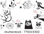 card with joyful dogs and happy ... | Shutterstock .eps vector #770315302