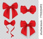 set of red gift bows . vector... | Shutterstock .eps vector #770320492