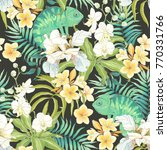 seamless pattern with flowers... | Shutterstock .eps vector #770331766