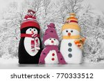 cute snowman and penguin toys ... | Shutterstock . vector #770333512