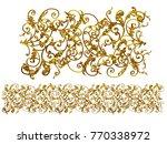 golden  ornamental segment  ... | Shutterstock . vector #770338972