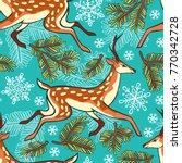 deer  spruce twigs  snowflakes. ... | Shutterstock .eps vector #770342728