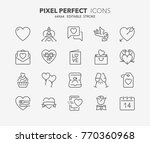 thin line icons set of love and ...