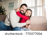 happy father and daughter... | Shutterstock . vector #770377006