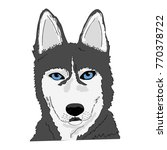 dog husky head vector... | Shutterstock .eps vector #770378722