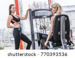 young sportive woman working... | Shutterstock . vector #770393536
