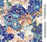 blue vintage vector botanical...   Shutterstock .eps vector #770395012