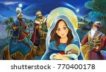 cartoon scene with mary and...   Shutterstock . vector #770400178