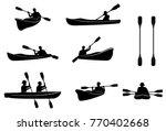 kayaking silhouettes . canoe... | Shutterstock . vector #770402668