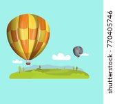hot air balloons in the sky.... | Shutterstock .eps vector #770405746