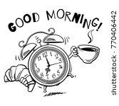 cartoon alarm clock with cup of ... | Shutterstock .eps vector #770406442