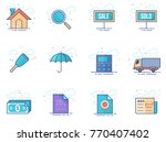 real estate icon series in flat ... | Shutterstock .eps vector #770407402