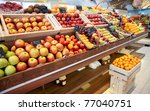 Shelf with fruits on a farm market - stock photo