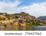 the castle of molyvos against a ... | Shutterstock . vector #770427562