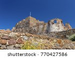 the walls of molyvos castle... | Shutterstock . vector #770427586
