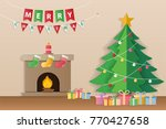 christmas tree  gifts and... | Shutterstock .eps vector #770427658