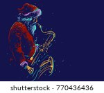 santa claus plays the saxophone....   Shutterstock .eps vector #770436436