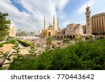 Small photo of Saint George Maronite Cathedral and Mohammad Al Amine blue Mosque across roman ruins in downtown Beirut, Lebanon.