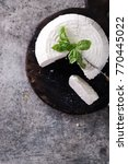 a fresh ricotta with basil leaf ... | Shutterstock . vector #770445022