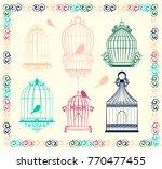 vintage bird cages | Shutterstock .eps vector #770477455