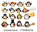 set of cute little penguins on... | Shutterstock .eps vector #770484256