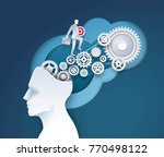 human head with cogwheel gears... | Shutterstock .eps vector #770498122