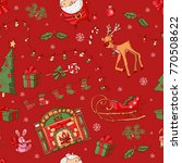 merry christmas pattern. vector ... | Shutterstock .eps vector #770508622