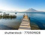 wooden pier at lake atitlan on... | Shutterstock . vector #770509828