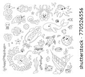 hand drawn sea animals vector... | Shutterstock .eps vector #770526556
