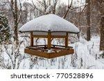 Wooden Bird Feeder In The Snow...