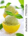lemon  basil sorbet in cups of... | Shutterstock . vector #77053126