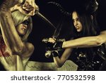 wounded angel dueling with...   Shutterstock . vector #770532598