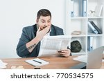 overweight businessman in suit... | Shutterstock . vector #770534575
