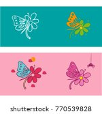 butterfly and flower. tattoo.... | Shutterstock .eps vector #770539828