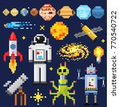 Set of space stars, alien spaceman, robot rocket and satellite cubes solar system planets pixel art, digital vintage game style. Mercury, Venus, Earth, Mars, Jupiter, Saturn. icons composition. | Shutterstock vector #770540722