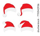 santa hat set on white... | Shutterstock .eps vector #770542936