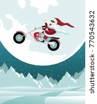 cartoon santa claus riding a... | Shutterstock .eps vector #770543632