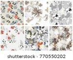 vector seamless pattern flowers ...   Shutterstock .eps vector #770550202