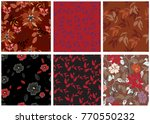 vector seamless pattern flowers ...   Shutterstock .eps vector #770550232