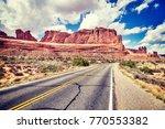 vintage toned scenic road ...   Shutterstock . vector #770553382