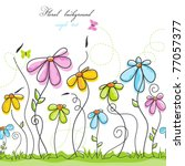 Stock vector colorful summer floral background 77057377