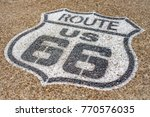 Us Route 66 White Logo Painted...