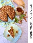 pumpkin walnut chocolate cake... | Shutterstock . vector #770579368