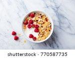 healthy breakfast. fresh... | Shutterstock . vector #770587735