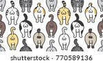 Stock vector cat breed kitten butt of cat doodle vector seamless pattern background wallpaper background 770589136
