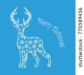 deer with snowflakes inside.... | Shutterstock .eps vector #770589436