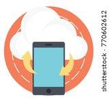 mobile synchronization flat... | Shutterstock .eps vector #770602612