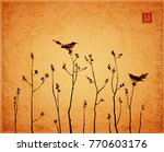 two birds and young trees... | Shutterstock .eps vector #770603176